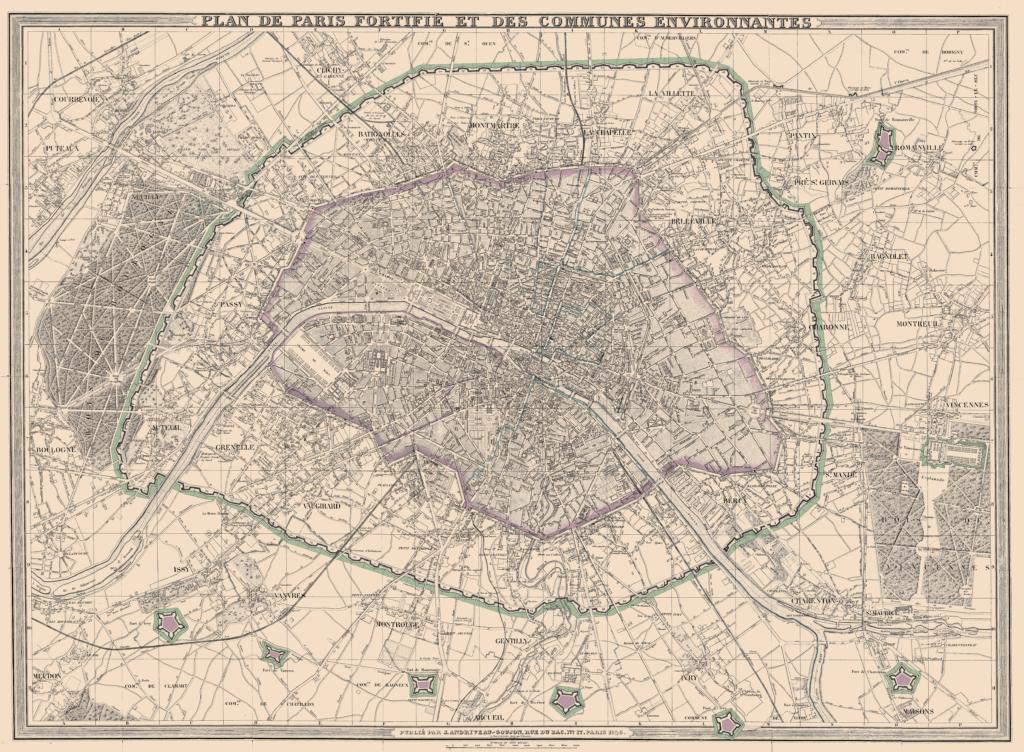 Plan de Paris fortifié et des communes environnantes - Carte Andriveau & Goujon 1846
